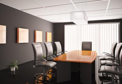 Konferenzzimmer mit orange tisch 3d